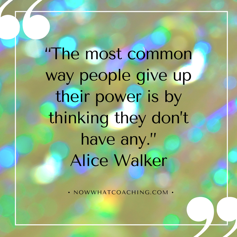 """""""The most common way people give up their power is by thinking they don't have any."""" Alice Walker"""