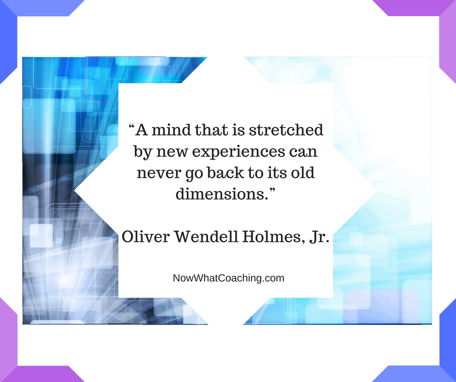 """A mind that is stretched by new experiences can never go back to its old dimensions.""Oliver Wendell Holmes, Jr."