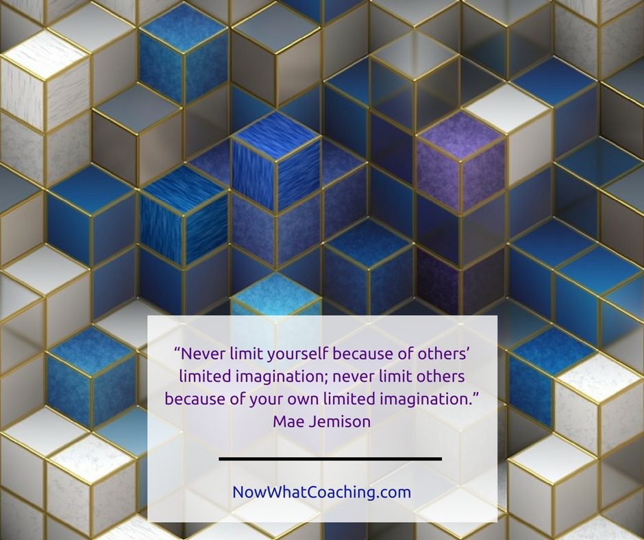 """Never limit yourself because of others' limited imagination; never limit others because of your own limited imagination."" Mae Jemison"