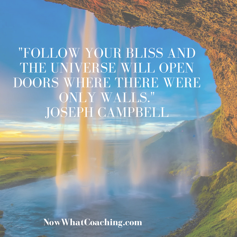 """Follow your bliss and the universe will open doors where there were only walls."" Joseph Campbell"
