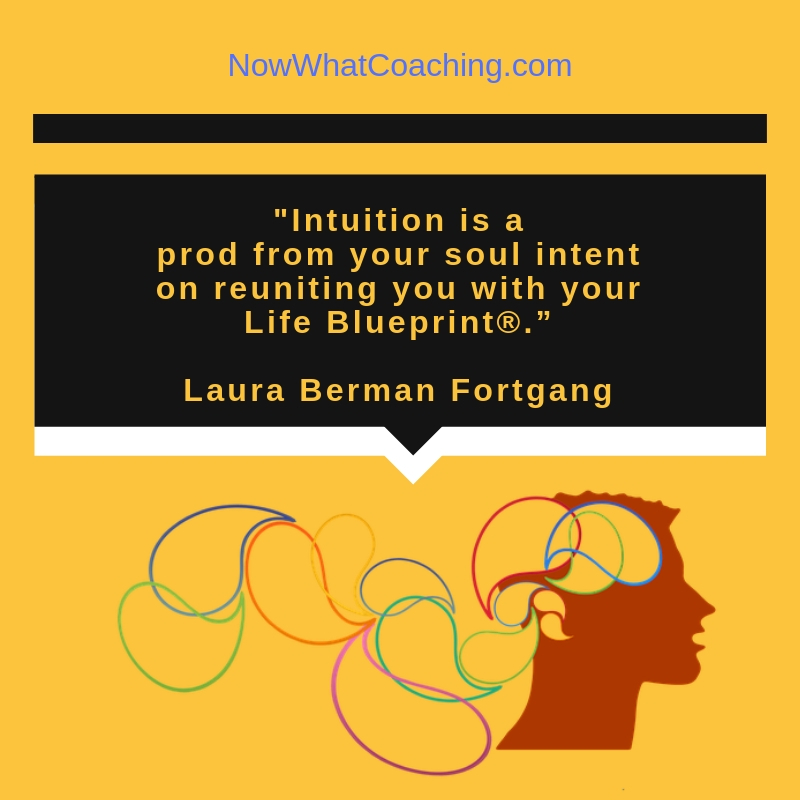 """Intuition is a prod from your soul intent on reuniting you with your Life Blueprint®."" Laura Berman Fortgang"