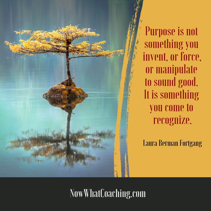 """Purpose is not something you invent, or force, or manipulate to sound good. It is something you come to recognize."" Laura Berman Fortgang"